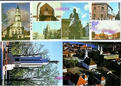 Lithuania Litauen Lietuva postcards Kaunas city town statue church architecture