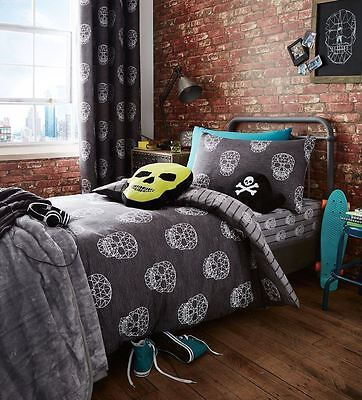 Catherine Lansfield Kid's Skulls Rebel Grey White Bedding Duvet Cover Set
