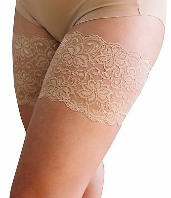 "Dolce Bandelettes Anti-Chafing Lace Thigh Bands Beige 21""-32"" 6 Sizes"