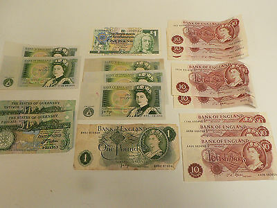 Selection of British Banknotes, Face Value £13, Some in Collectible Condition