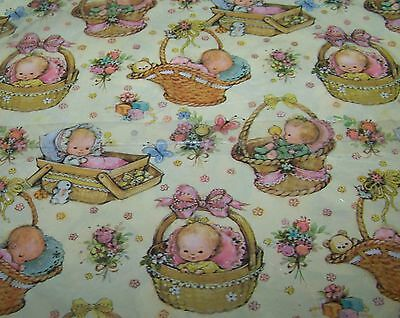 Vintage Baby Gift Wrap Wrapping Paper Hallmark Boy Girl in Basket Shower Floral