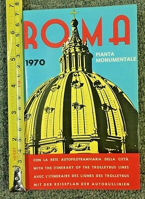 """1970 Roma Italy Pianta Monumentale Guide/map 34X25"""" Travel Guide Brochure Nice"""