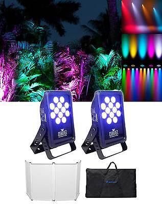 (2) Chauvet DJ SlimPANEL Tri-12 Indoor/Oudoor Tri-Color LED Wash Lights+Facade