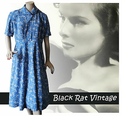 Vintage 1940s Pretty Shirtfront Print Floral Petrol Blue Flared Tea Dress 14UK