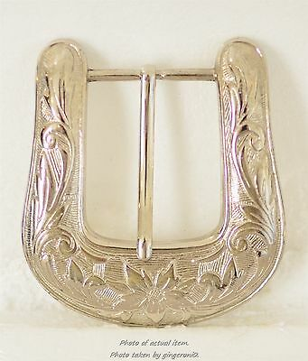 Women's Western Flair Belt buckle Flowers and Etching Silver-plated over Brass