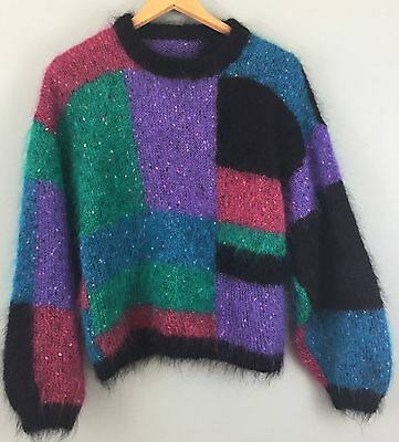 HAND KNITTED vintage colour block mohair jumper sweater M/L