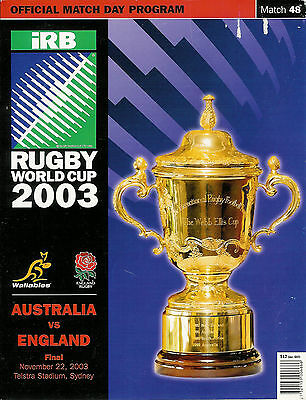 Australia v England - World Cup Final 2003 RWC fair condition RUGBY PROGRAMME