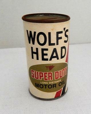 Vintage WOLF'S HEAD Super Duty MOTOR OIL Can Bank - Oil City, PA