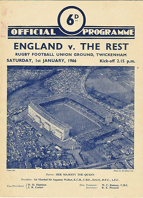 England v The Rest - English International Trial 1 Jan 1966 RUGBY PROGRAMME