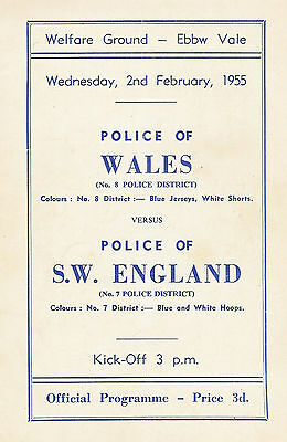 Welsh Police v South West England Poilce 2 Feb 1955 RUGBY PROGRAMME
