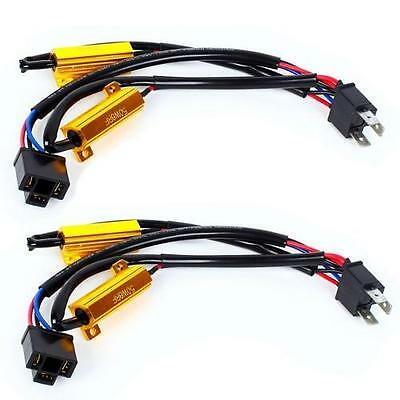 2x H4 DRL Light 50W LED HID Error Free Dual Load Resistor Canbus Harness Wiring