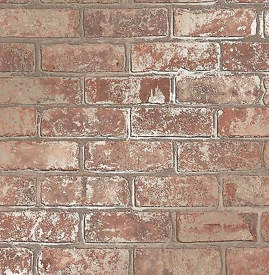 Red Gold Metallic Brick Wall Faux Wallpaper 3D Effect Rustic Feature FD41954
