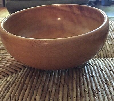 "Vintage HASSELBRING WOOD SALAD BOWL 9"" Mid Century Sterling Feet"