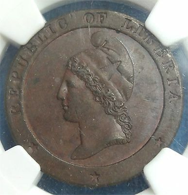 1847 Republic of Liberia One Cent Coin Slabbed AU 55 BN by NGC