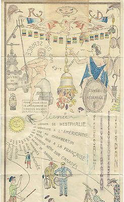Menu dessiné du 30 Septembre 1934 - Hotel de la Cloche - Beaune - Monsieur Bobin