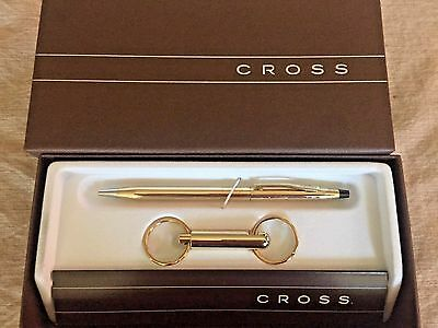 Cross 10K Gold Filled Rolled Ballpoint Pen With Keychain New In Box