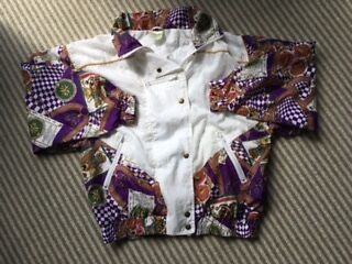 ladies 80's/90's vintage shell suit jacket, size 14/16 white & multi pattern
