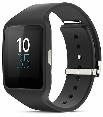 Sony Smart Watch 3 SWR50 Android Wear Silicone Strap Fitness Tracker - Black
