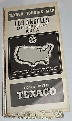 Vintage Rand McNally Los Angeles Touring Road Map Texaco Advertising Oil Gas