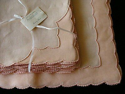 FINEST MADEIRA 16pc Linen Organdy Placemats MARGHAB Scallopino UNUSED Embroidery