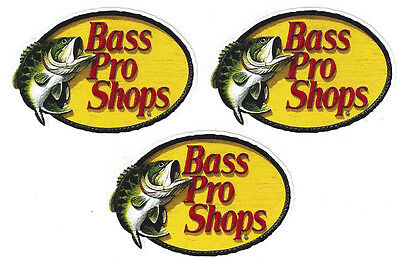 Bass Pro Fishing Decals Stickers 2-1/2 Inches Long Size New Sheet of 3 Vinyl