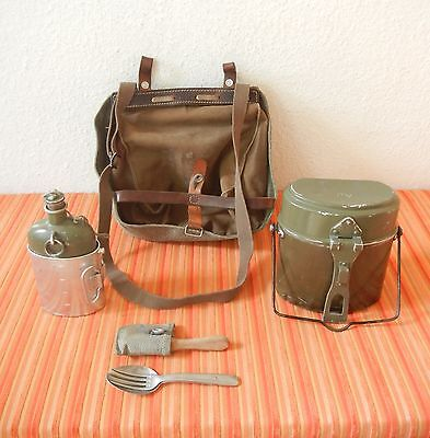 Vintage 1966 Swiss Army Military Salt & Pepper bread bag Canvas bottle +canteen