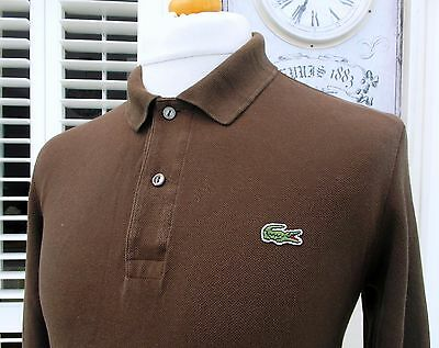 Lacoste Brown Long Sleeved Pique Polo - S/M - Size 3 - Ska Mod Scooter Casuals