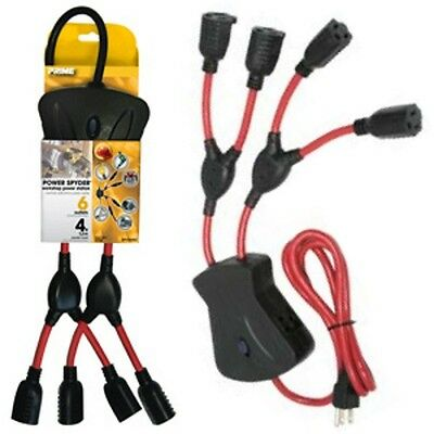 6way AC outlet Power Spider/Squid/Strip/Splitter/Y, Outlet Saver/Liberator $SHdi