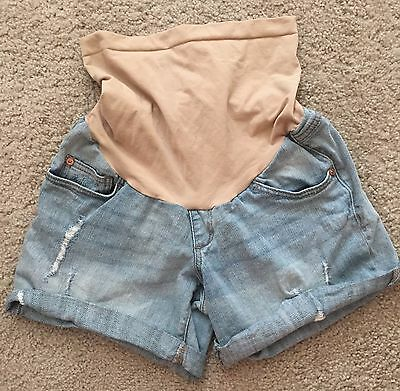 Indigo Blue Secret Fit Belly Destructed Denim Maternity Shorts XS/TP/XCH