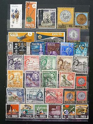 MALTA    NICE mixed LOT of 34 OLD used STAMPS  Lot #10
