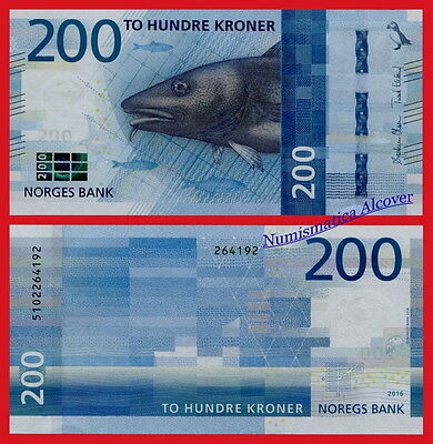NORUEGA NORWAY 200 Kroner 2016 (2017) Cod Pick NEW SC / UNC