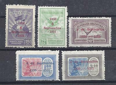 Argentina  - 1936 - Overprinted Air Mails - Complete Set - MH