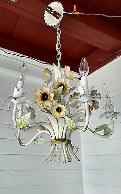 Vintage Italian Painted Metal Tole Floral Chandelier Fab Mid Cent Mod