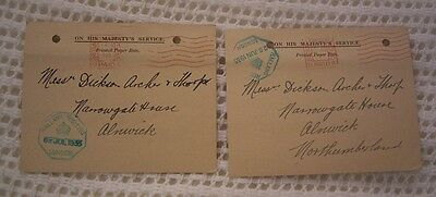 Great Britain Ohms Land Receipt Postcards From 1935