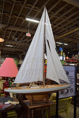 Vintage Large Sailboat Yacht Wooden Detailed Model Ship Approx 4' x 6'