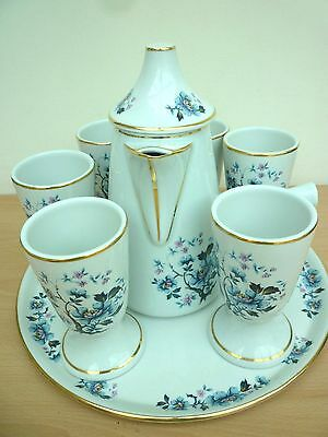 French Porcelain Coffee/chocolate Pot Set With Goblets And Serving Tray