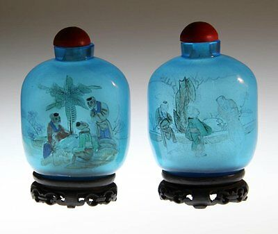 Pr. Chinese Qing or Republic Inside Painted Glass Snuff