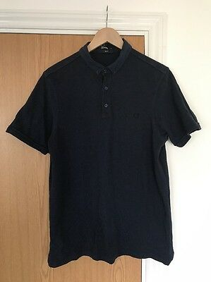 Fred Perry Polo Men's Large Slim Fit Blue