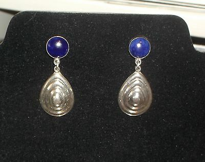 Earrings 925 Sterling & Lapis Mexico TG-117