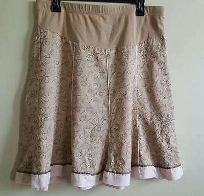 Mimi Maternity Size Medium Knee Length Aline Tan Skirt with Pink Brown Swirls