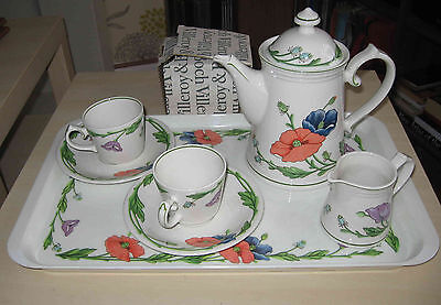 Amapola coffee set Villeroy & Boch 6 cups & saucers, coffee pot, creamer tray