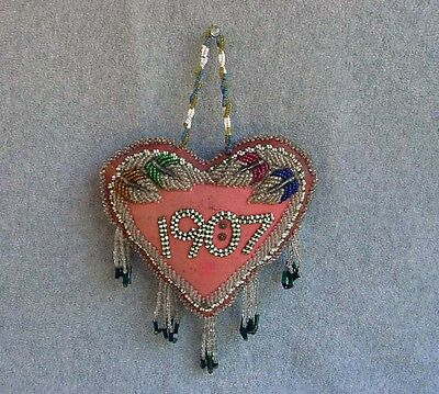 Antique Beaded Native American Whimsey Heart Pin Cushion 1907 Iroquois Seneca