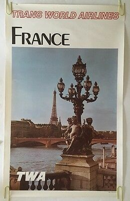 Vintage TWA Poster France Travel Trans Atlantic Pin-Up 1970s Airline Original