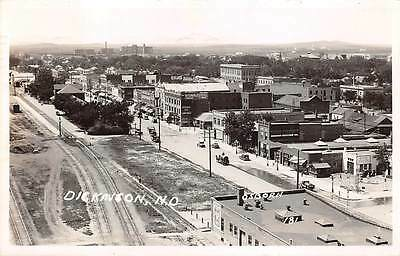 DICKENSON, STARK COUNTY, ND, TOWN & RR DEPOT OVERVIEW, REAL PHOTO PC, used 1945