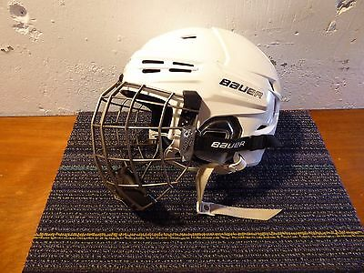 Small Bauer Re Akt Helmet w Titanium Oval Cage White Very Good Pre Owned!