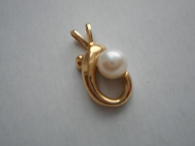 Vintage 14K Yellow Gold And 6Mm Cultured Pearl Pendant Not Scrap