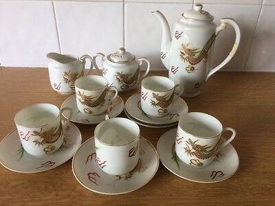 Vintage Hand Painted Japanese / Chinese Porcelain Tea Set Used Golden Dragons
