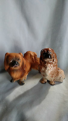 Pair of Ceramic Pekingese Figurines - Made in Japan
