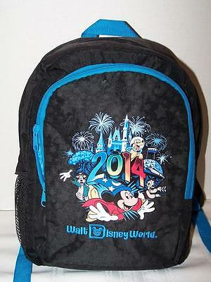 2014 Walt Disney World Backpack Bag Nylon Black Embroidered Mickey Mouse Goofy