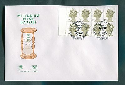 2000 Milliennium Cylinder Booklet Pane : Space Centre & London Zoo Postmark